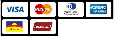 Visa, Master, Hipercard, American Express, Aura