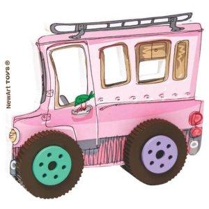 Carrinho de madeira na cor rosa