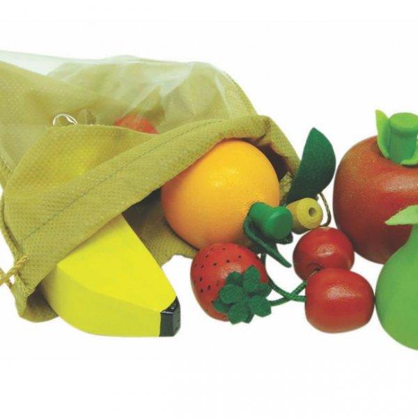 Dez frutinhas ( pera, maça, laranja, banana, um de cada; três morangos e duas cerejas)