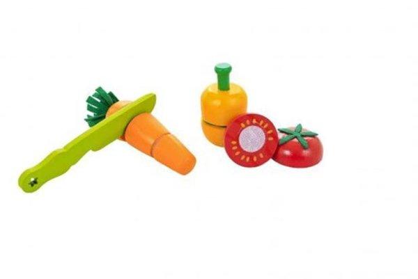 Uma faca verde, um pimentão laranja, um tomate vermelho e uma cenoura laranja.