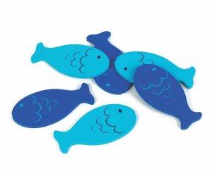 Seis peixinhos do mesmo tamanho, três em azul escuro e três em azul claro.