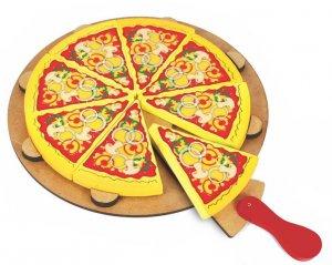 Pizza com oito fatias e uma espátula.