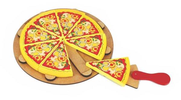 Pizza com oito fatias, com molho em cima e queijo derretido. Uma espátula de pizza com uma fatia em cima dela.