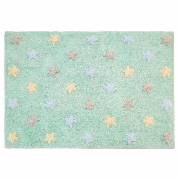 tapete para piso - menta estrelado 3